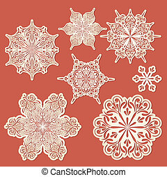 Vector Paper Cut Golden Snowflakes - vector paper cut golden...
