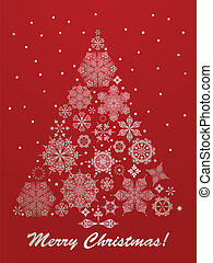 Vector Christmas Greeting Card with Fir Tree - vector...