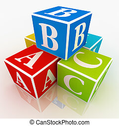 Play blocks - A,B and C written on colourful blocks