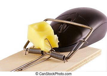 Computer mouse and mousetrap isolated on white background