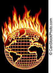 Global warming - The burning Earth Conceptual illustration