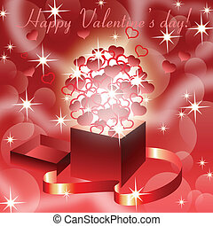 Red valentine?s  background with magic open gift box , eps10