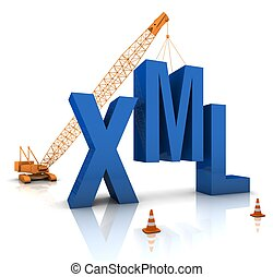 XML Coding - Construction site crane building a blue XML 3D...