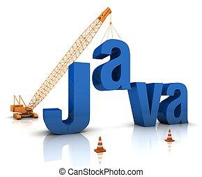 Java Coding - Construction site crane building a blue Java...