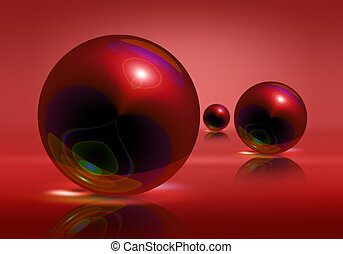 Spheres - Three red spheres on a red background