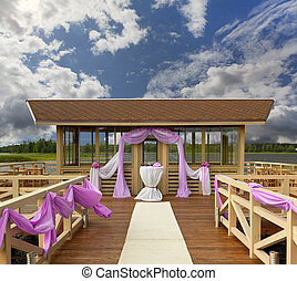 place for wedding on a pier at the lake