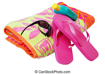 Beach Time - Beach towel, sunglasses, flip flops, and...