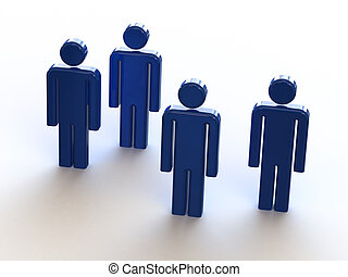 3d blue people on white background