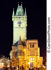 Tower with Old Clock on Staromestska Square,Prague - Tower...