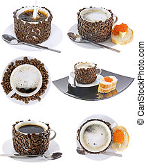 Collage of various coffee cups. Isolated - Collage...