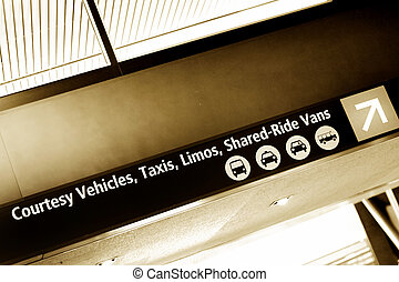Seatac airport sign - Taxis and limos sign in Seatac...