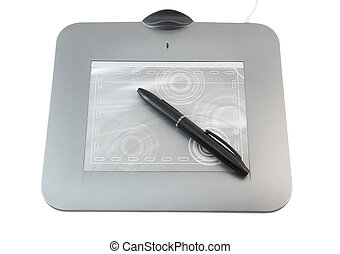 Pen tablet on white background. Isolated