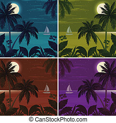 Tropical ocean landscape with palm trees - Set colorful...