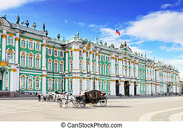 View Winter Palace in Saint Petersburg from Neva river