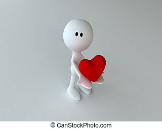 Heart - 3d rendered character holding a heart for you