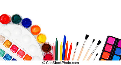 Back to school. Tools for drawing. On a white background.