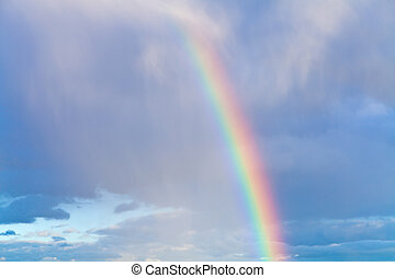 rainbow in blue cloudy sky - rainbow in autumn blue cloudy...