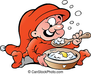 Elf eating porridge - Hand-drawn Vector illustration of elf...