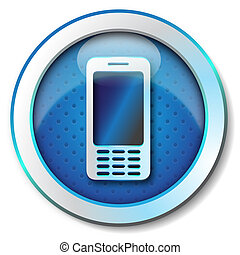 Videophone icon - Illustration metallic icon for web...