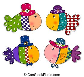 Fish set. Cartoon characters. - Colorful graphic...