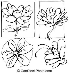 Abstract Leaky Pen Flower Set Drawing - An image of an...