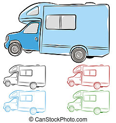 RV Camper - An image of an rv camper drawing
