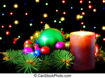 New Year decoration-balls,tinsel,candel - New Year...