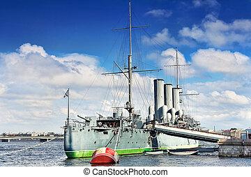Cruiser Avrora in the city Saintt-Petersburg Russia -...