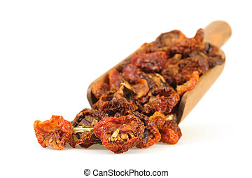 Sundried Tomatoes - Scoop of sundried tomatoes photographed...
