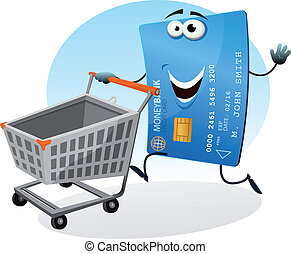 Shopping With Credit Card - Illustration of a cartoon happy...