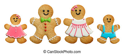 Gingerbread family isolated on white