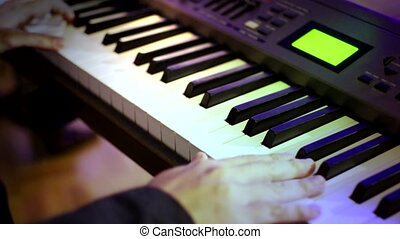 Playing Piano 03 with Lighting - Hand of the Pianist Playing...