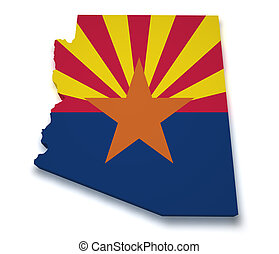 Arizona Map 3d Shape - Shape 3d of Arizona map with flag...