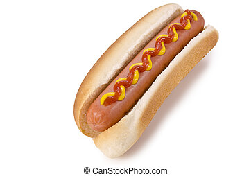 Hot dog - A hot dog on a white background