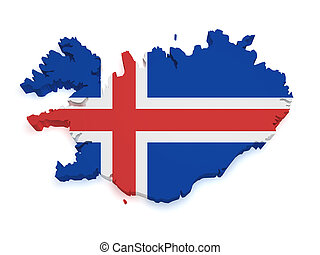 Iceland Map 3d Shape - Shape 3d of Iceland map with flag...