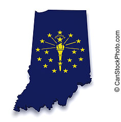 Indiana Map 3d Shape - Shape 3d of Indiana map with flag...