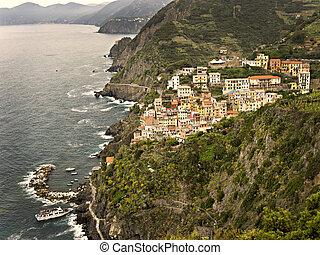 The 13th Century village of Riomaggiore in Cinque Terre, Italy.