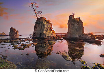 Sunset Over Pig and Sow Inlet at Oregon Coast - Sunset Over...