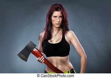 Axe lady - Sexy woman holding an Axe,