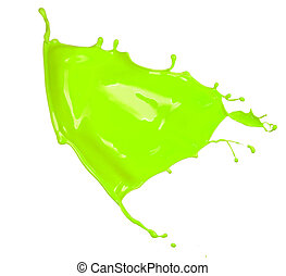 Shot of green splash blob, isolated on white background