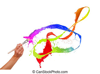 Colored paints splashing out of brush. Isolated on white...