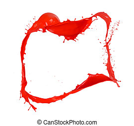 Red splashes paint frame, isolated on white background