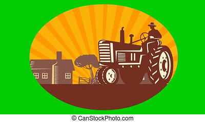vintage farm tractor in farm field - 2d video footage...