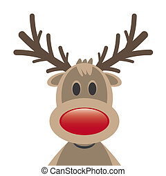 reindeer red nose on white background - rudolph reindeer red...