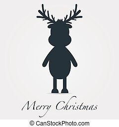 reindeer silhouette black merry christmas text - rudolph...