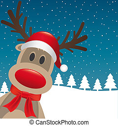 reindeer red nose santa claus hat - rudolph reindeer red...