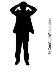 Businessman hold his head in horror condition Icon, Vector