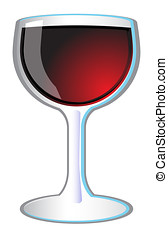 Glass of Red Wine Vector Icon Illustration - Red wine glass...