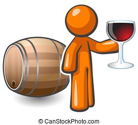 Orange Man Wine Cellar Keg and Glass of Wine - Orange man...