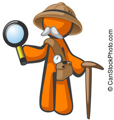 Orange Man Explorer with Magnifying Glass - Doctor...
